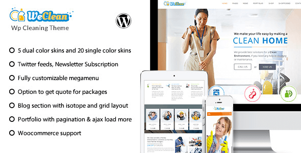Download Free We Clean v1 8 – Responsive Cleaning Business WordPress